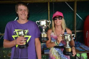 2013 NZ Extreme Race series winners Sean Curtis (junior champion) and Louise Urwin (women's champion). Absent: Kenny Mutton.